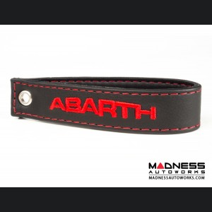 FIAT 500 Trunk Handle / Pull Strap - Black w/ Red Stitch + ABARTH Logo