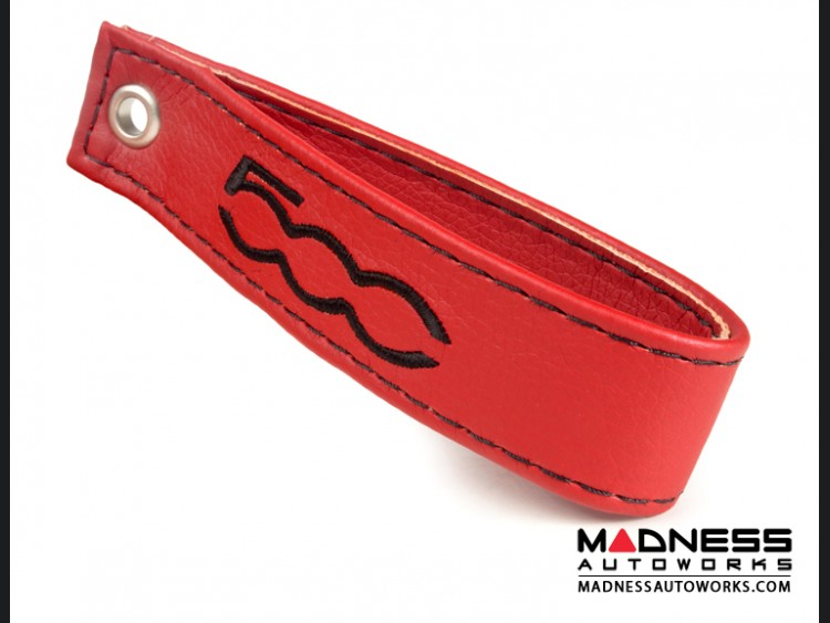 FIAT 500 Trunk Handle / Pull Strap - Red w/Black Stitch + 500 Logo