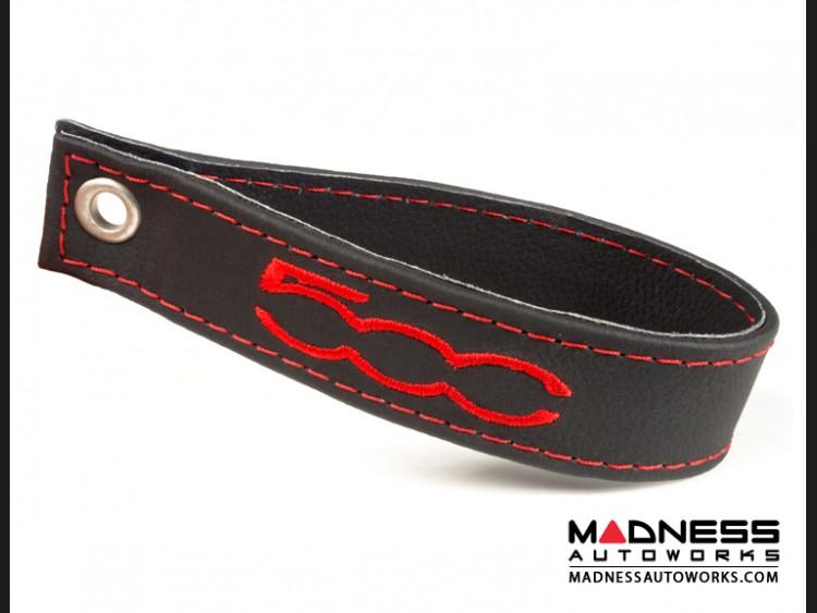 FIAT 500 Trunk Handle / Pull Strap - Black w/ Red Stitch + Red 500 Logo