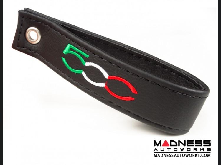 FIAT 500 Trunk Handle / Pull Strap - Black w/ Black Stitch + 500 Logo in Italian Colors
