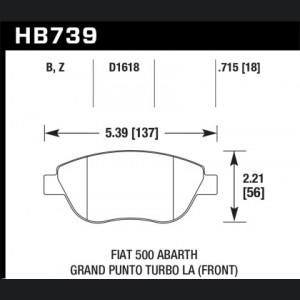 FIAT 500 Brake Pads - Front - Hawk - HPS 5.0 - ABARTH/ Turbo Models