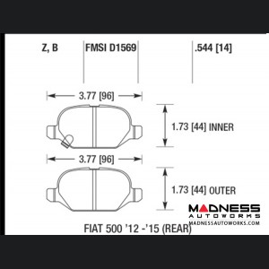 FIAT 500 Brake Pads - Rear - Hawk - HPS 5.0 - All Models