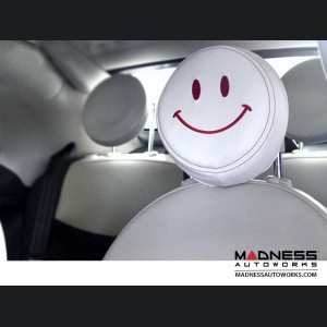 FIAT 500 Headrest Covers - Ivory w/ Red Happy Face - Front Set