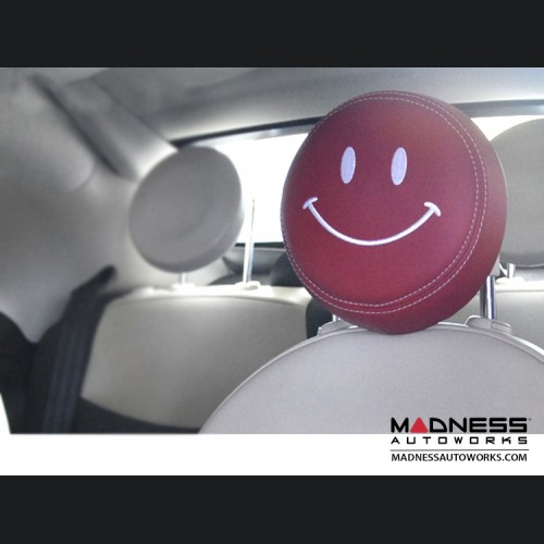FIAT 500 Headrest Covers - Red w/ White Happy Face - Front Set