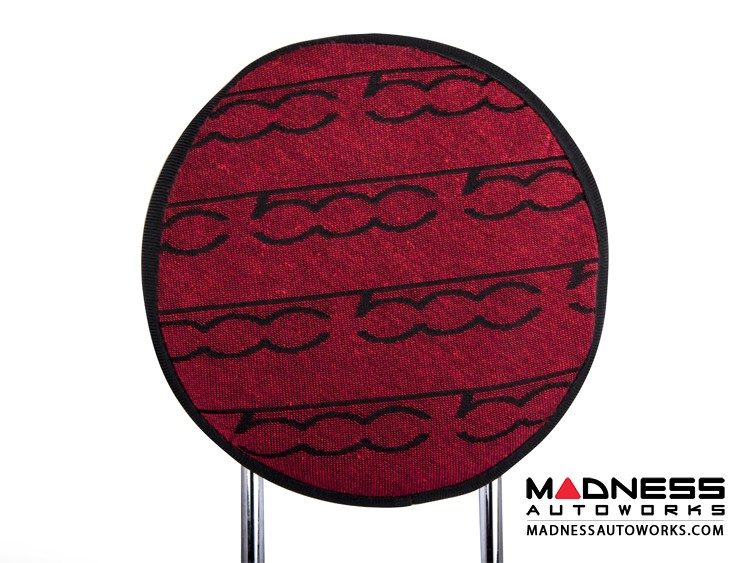 FIAT 500 Headrest Covers - Red w/ 500 Logos - Front Set