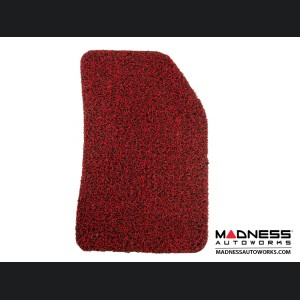FIAT 500X Floor Mats - All Weather Rubber -  Coiled PVC - Front + Rear Set - Red/ Black