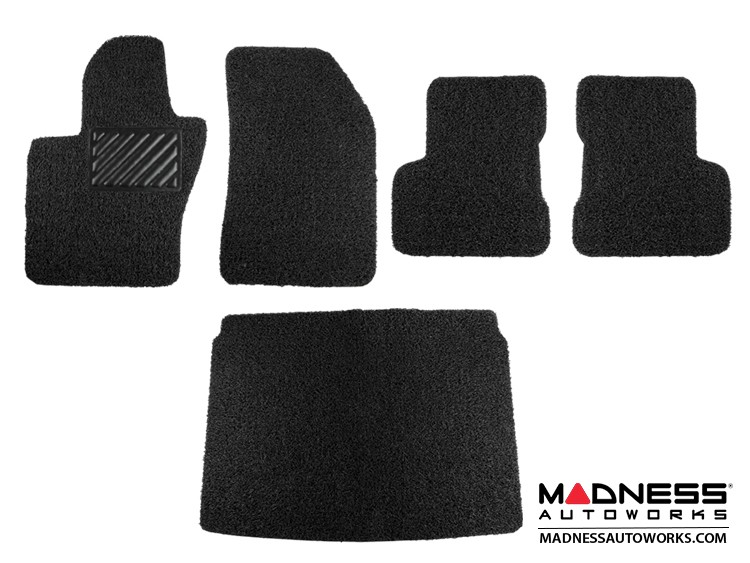 FIAT 500X Floor Mats + Cargo Mat - All Weather Rubber - Coiled PVC - Black