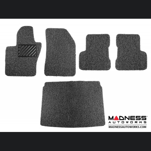 FIAT 500X Floor Mats + Cargo Mat - All Weather Rubber - Coiled PVC - Black/ Grey