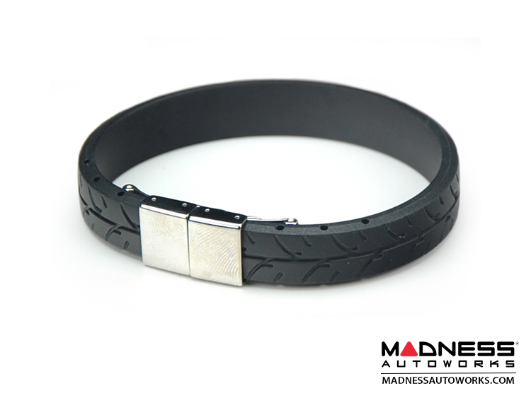 Tire Tread Bracelet - Black Rubber w/ Stainless Steel Clasp