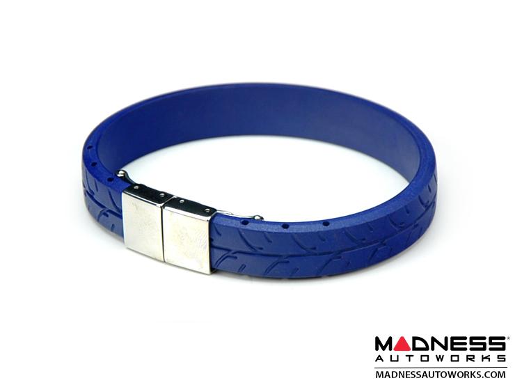 Tire Tread Bracelet - Blue Rubber w/ Stainless Steel Clasp