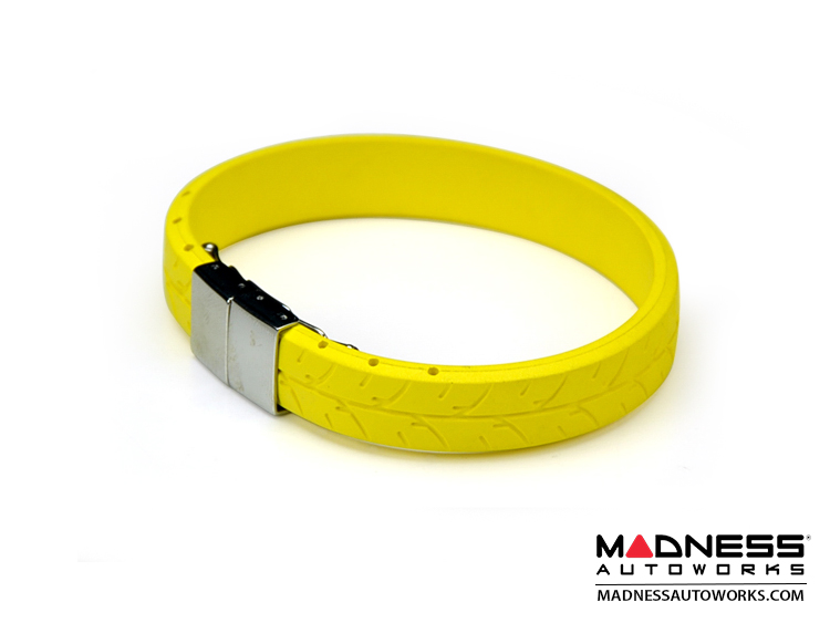 Tire Tread Bracelet - Yellow Rubber w/ Stainless Steel Clasp