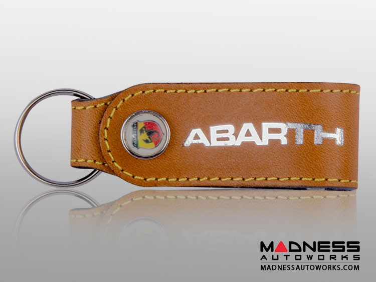 Keychain - Leather Band - ABARTH Logo - Brown