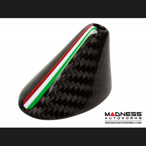 FIAT 500 Antenna Base Cover - Carbon Fiber - Italian Flag Racing Stripe - EU Model