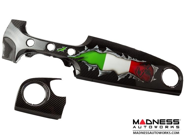 FIAT 500 Custom Dashboard - Carbon Fiber - Italian Flag w/ Black Scorpion