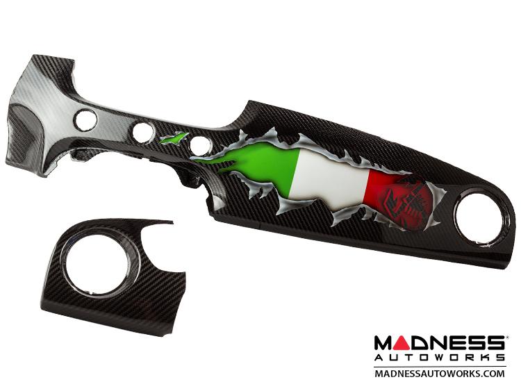 FIAT 500 ABARTH Custom Dash - Carbon Fiber - Italian Flag w/ Black Scorpion