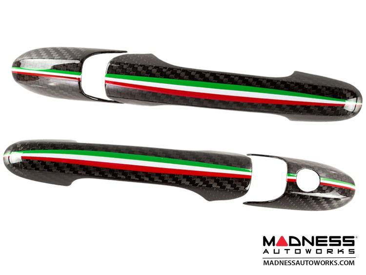 FIAT 500 Door Handles - Carbon Fiber w/ Italian Racing Stripe