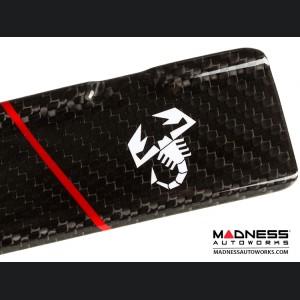 FIAT 500 Door Sills - Carbon Fiber - Red Racing Stripe w/ White Scorpion