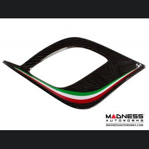 FIAT 500 Front Side Air Duct Diffuser Set - Carbon Fiber - Italian Racing Stripe w/ White Scorpion - NA Model