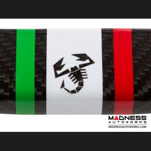 FIAT 500 Front Spoiler - Carbon Fiber - Italian Racing Stripe w/ Black Scorpion
