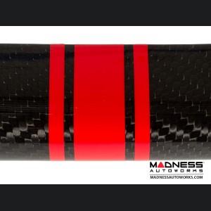 FIAT 500 Front Spoiler - Carbon Fiber - Red Racing Stripe w/ White Scorpion