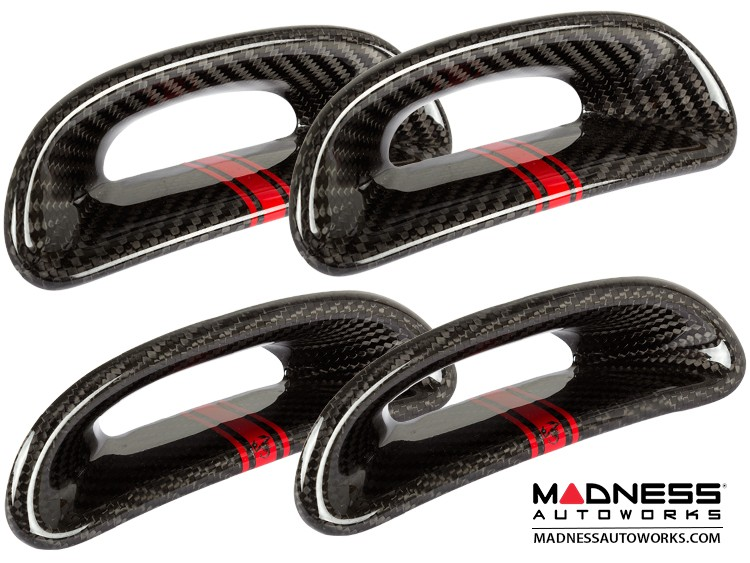 FIAT 500 ABARTH Headrest Inserts - Carbon Fiber (4pc set) - Red Racing Stripe w/ Scorpion