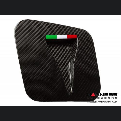 FIAT 500 Hood Scoop - ABARTH NACA Air Intake - Carbon Fiber - Italian Racing Stripe Design