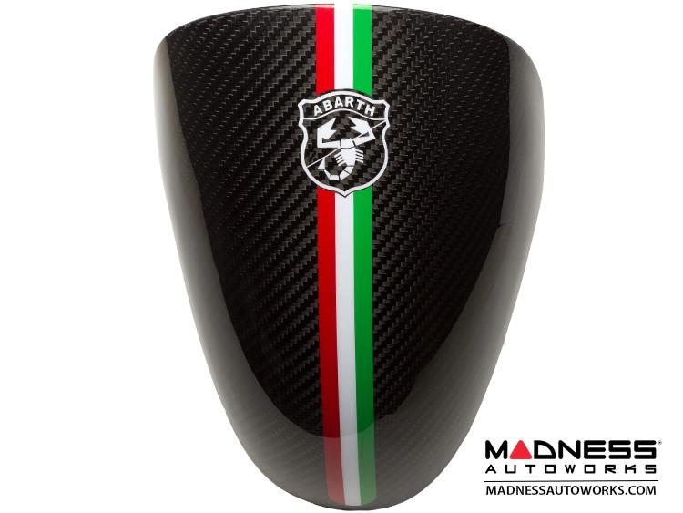 FIAT 500 Instrument Cover - Carbon Fiber - Italian Racing Stripe w/ Black Scorpion
