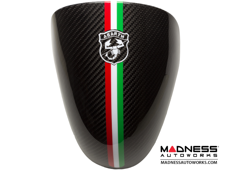 FIAT 500 Instrument Cover - Carbon Fiber - Italian Racing Stripe w/ Black Scorpion