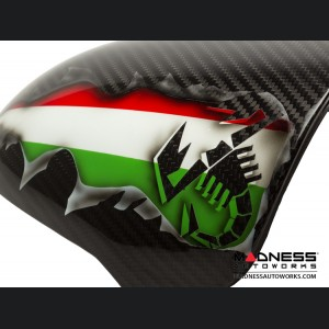 FIAT 500 Instrument Cover - Carbon Fiber - Italian Flag w/ Black Scorpion