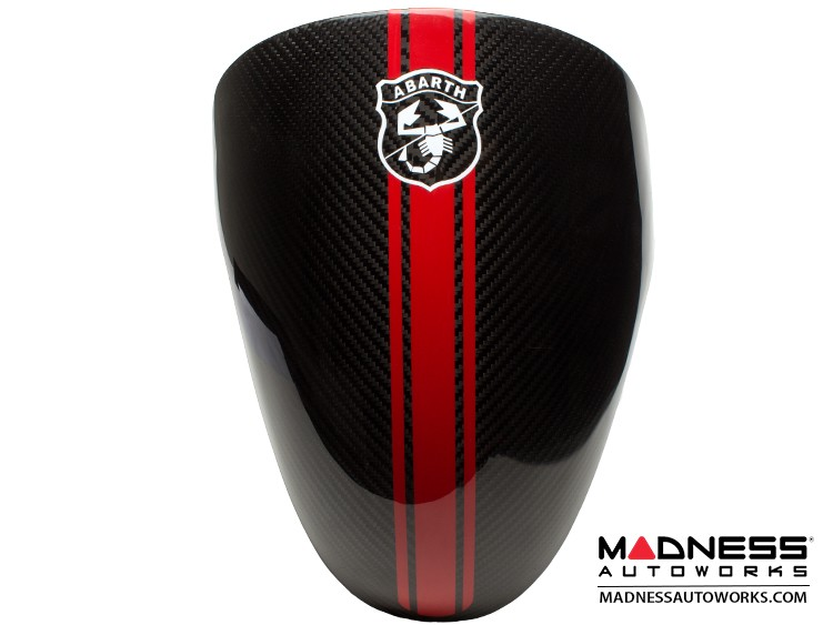 FIAT 500 Instrument Cover - Carbon Fiber - Red Racing Stripe w/ White Scorpion