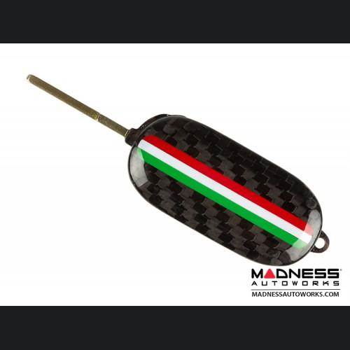 FIAT 500 Key Fob Housing - Carbon Fiber - Italian Racing Stripe