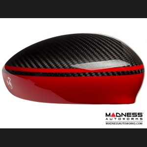 FIAT 500 Mirror Covers - Carbon Fiber - Red Racing Stripe w/ White Scorpion V3