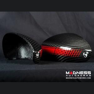 FIAT 500 Mirror Covers - Carbon Fiber - Red Racing Stripe w/ White Scorpion