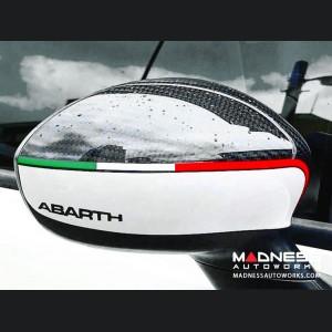 FIAT 500 Mirror Covers - Carbon Fiber - White w/ ABARTH + Italian Flag Design