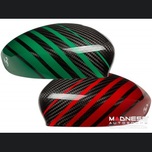 FIAT 500 Mirror Covers - Carbon Fiber - Red & Green Racing Stripe w/ White Scorpion