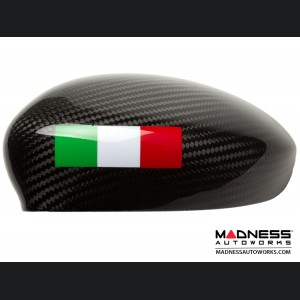 FIAT 500 Mirror Covers - Carbon Fiber - Italian Racing Stripe