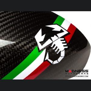 FIAT 500 Mirror Covers - Carbon Fiber - Italian Racing Stripe w/ White Scorpion