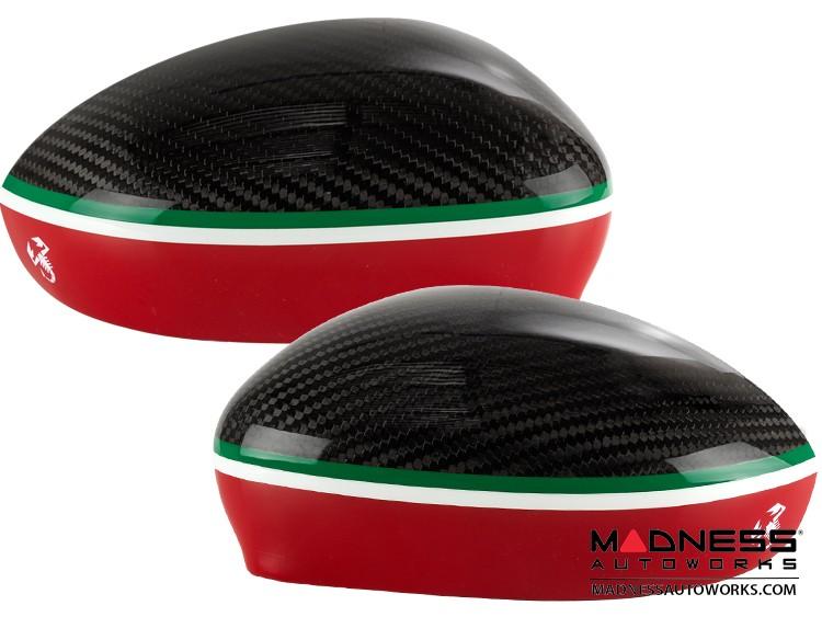 FIAT 500 Mirror Covers - Carbon Fiber - Red Lower Portion - Italian Racing Stripe w/ White Scorpion