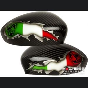FIAT 500 Mirror Covers - Carbon Fiber - Italian Flag w/ Black Scorpion