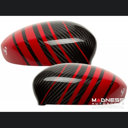 FIAT 500 Mirror Covers - Carbon Fiber - Red Racing Stripe w/ White Scorpion V2