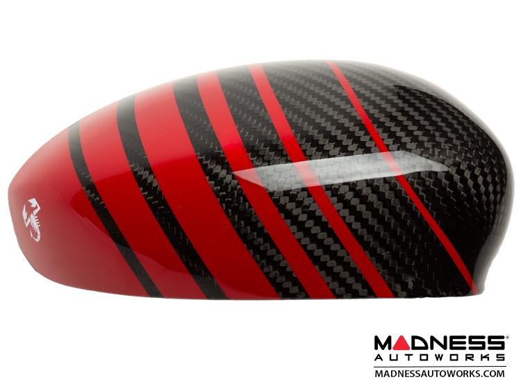 Fiat 500 Mirror Covers In Carbon Fiber Red Racing Stripe