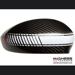 FIAT 500 Mirror Covers - Carbon Fiber - White Racing Stripe w/ Red Scorpion