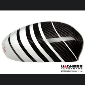 FIAT 500 Mirror Covers - Carbon Fiber - White Racing Stripe w/ Red Scorpion V2