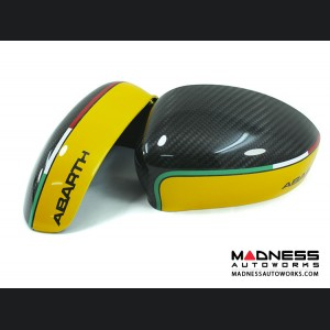 FIAT 500 Mirror Covers - Carbon Fiber - ABARTH/ Yellow Style