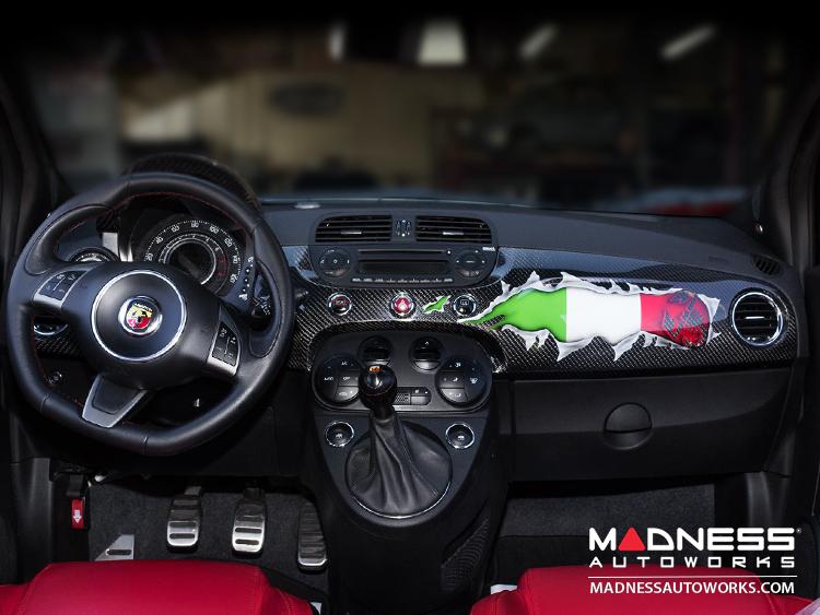 FIAT 500 ABARTH Interior Carbon Fiber Package - Italian Flag w ...