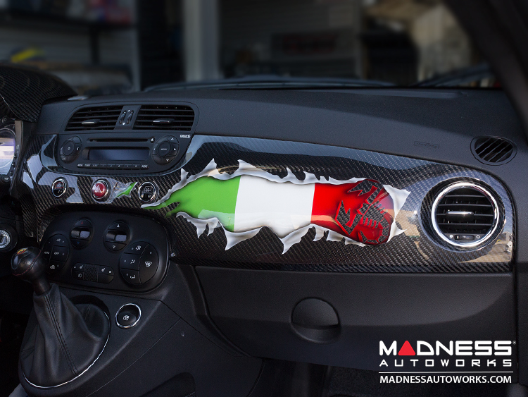 FIAT 500 ABARTH Custom Dash - Carbon Fiber - Italian Flag w/ Black