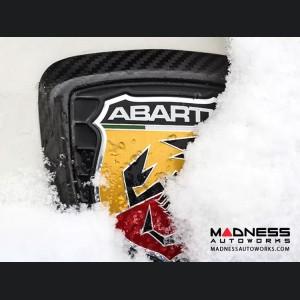 FIAT 500 ABARTH Rear Emblem Trim - Carbon Fiber - Red Stripes