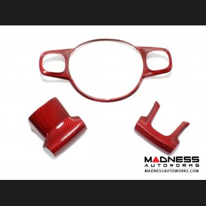 FIAT 500 ABARTH Steering Wheel Trim - Carbon Fiber - Red Candy - 595 Edition (2016-on)