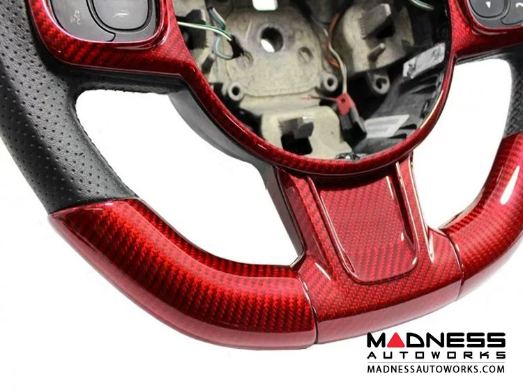 FIAT 500 ABARTH Steering Wheel Sides Cover - Carbon Fiber - Red Candy - 595 Edition