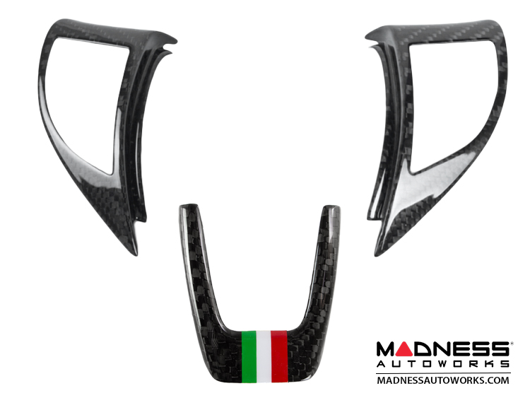 FIAT 500 ABARTH Steering Wheel Trim Set (3 pieces) - Carbon Fiber Italian Racing Stripe